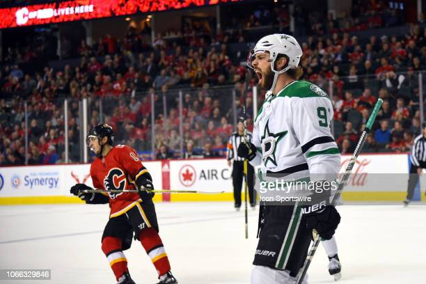 Dallas Stars Center Tyler Seguin celebrates his winning goal during the overtime period of an NHL game where the Calgary Flames hosted the Dallas...