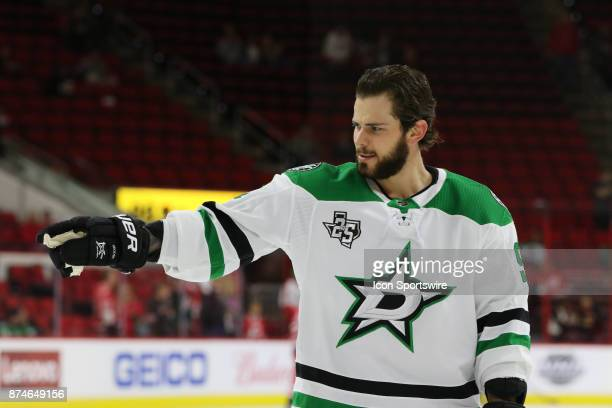 Dallas Stars Center Tyler Seguin during warmups of the Carolina Hurricanes versus the Dallas Stars on November 13 at PNC Arena in Raleigh NC