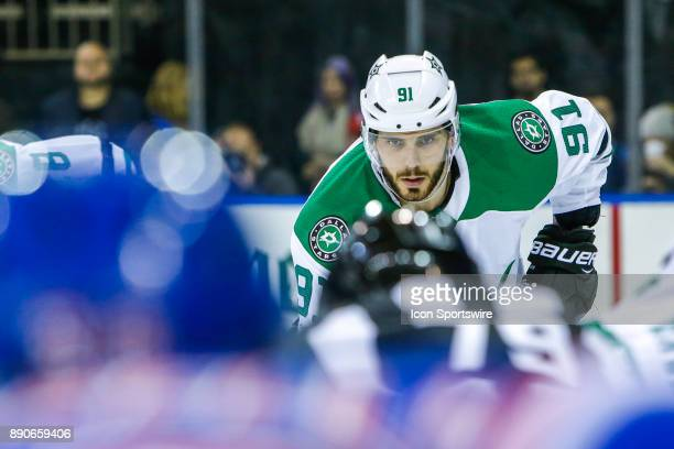 Dallas Stars Center Tyler Seguin looks on prior to faceoff during the Dallas Stars and New York Rangers NHL game on December 11 at Madison Square...