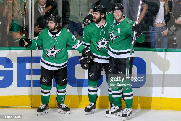 Dallas Stars center Tyler Seguin scores a game tying goal late during the game between the St Louis Blues and the Dallas Stars on April 29 2019 at...