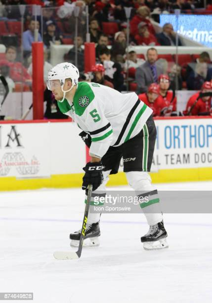 Dallas Stars Defenceman Jamie Oleksiak during the 2nd period of the Carolina Hurricanes versus the Dallas Stars on November 13 at PNC Arena in...