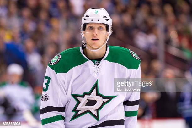 Dallas Stars Defenceman John Klingberg skates onto the ice during their NHL game against the Vancouver Canucks at Rogers Arena on March 16, 2017 in...