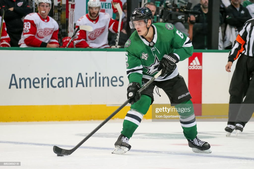 Dallas Stars Defenceman Julius Honka (6) handle the puck during a power play at the NHL game between the Detroit Red Wings and Dallas Stars on October 10, 2017 at the American Airlines Center in Dallas, TX.