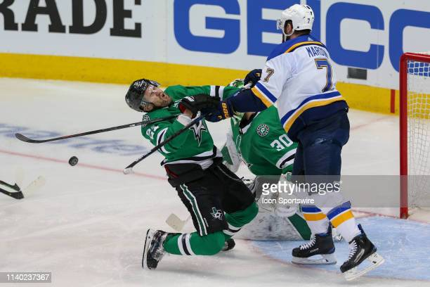 Dallas Stars defenseman Ben Lovejoy is hit by St Louis Blues left wing Pat Maroon during the game between the St Louis Blues and the Dallas Stars on...