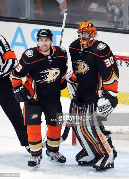 Dallas Stars defenseman Francois Beauchemin and goalie Ryan Miller on the ice after the Ducks defeated the Dallas Stars 2 to 0 in a game played on...
