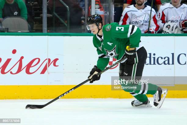 Dallas Stars defenseman John Klingberg handles the puck on the power play during the hockey game between the Washington Capitals and Dallas Stars on...