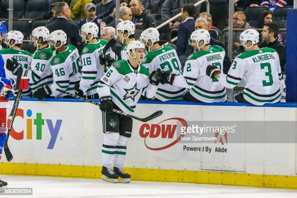 Dallas Stars Defenseman Julius Honka celebrates goal during the Dallas Stars and New York Rangers NHL game on December 11 at Madison Square Garden in...