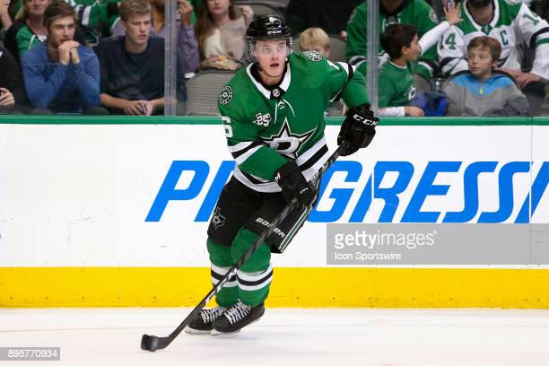 Dallas Stars defenseman Julius Honka handles the puck during the hockey game between the Washington Capitals and Dallas Stars on December 19 2017 at...