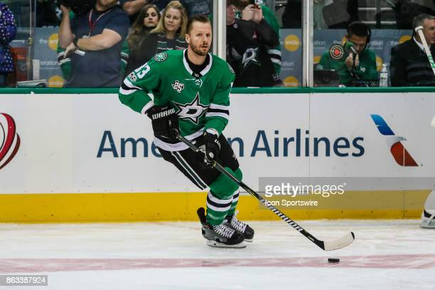 Dallas Stars defenseman Marc Methot skates in warmups prior to the game against the Arizona Coyotes on October 17 2017 at the American Airlines...