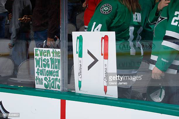 Dallas Stars fans show their support for Patrick Sharp of the Dallas Stars against his former team the Chicago Blackhawks at the American Airlines...