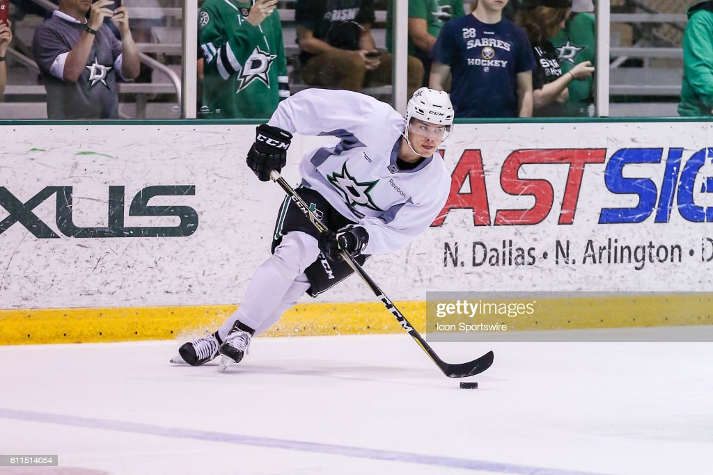 Dallas Stars first round draftee defenseman Miro Heiskanen goes through drills during the Dallas Stars Development Camp on July 08, 2017 at the Dr Pepper StarCenter in Frisco, TX.