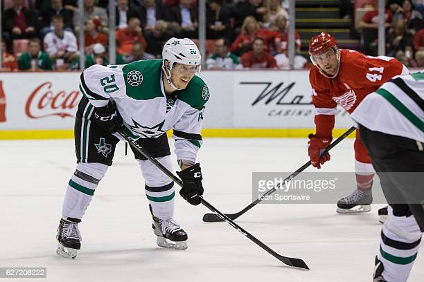 Dallas Stars forward Cody Eakin waits for a faceoff during a regular season NHL hockey game between the Dallas Stars and the Detroit Red Wings on...