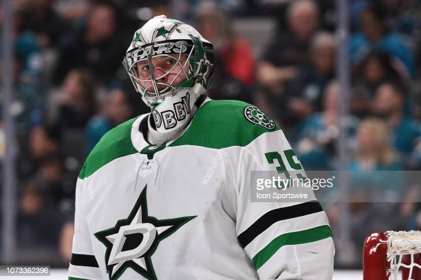 Dallas Stars Goalie Anton Khudobin during the National Hockey League game between the Dallas Stars and the San Jose Sharks on December 13 2018 at SAP...