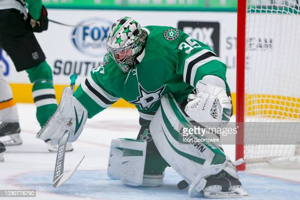 Dallas Stars Goalie Anton Khudobin makes a save during the first period of the game between the Nashville Predators and Dallas Stars on January 24,...