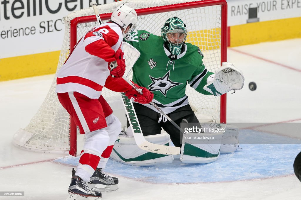 Dallas Stars Goalie Ben Bishop (30) fights off a shot during the NHL game between the Detroit Red Wings and Dallas Stars on October 10, 2017 at the American Airlines Center in Dallas, TX.