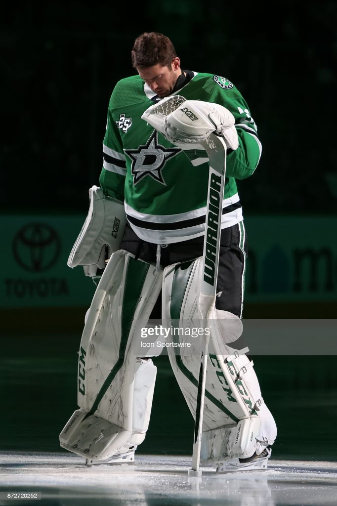Dallas Stars Goalie Ben Bishop (30) is introduced prior to the NHL hockey game between the New York Islanders and Dallas Stars on November 10, 2017 at American Airlines Center in Dallas, TX.