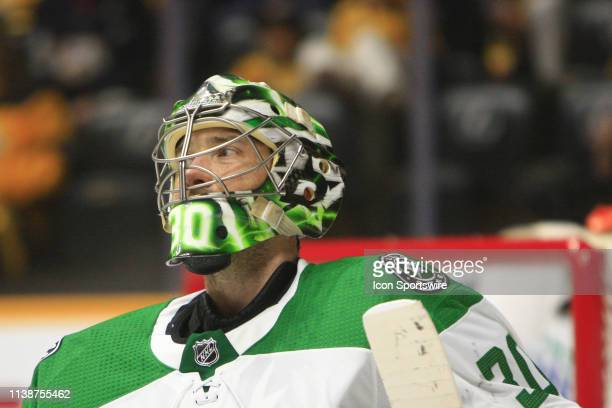 Dallas Stars goalie Ben Bishop is shown during Game Five of Round One of the Stanley Cup Playoffs between the Nashville Predators and Dallas Stars,...