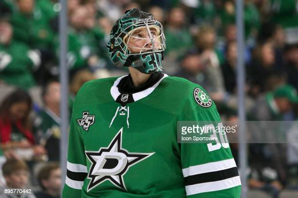 Dallas Stars goalie Ben Bishop looks up at the replay during the hockey game between the Washington Capitals and Dallas Stars on December 19 2017 at...