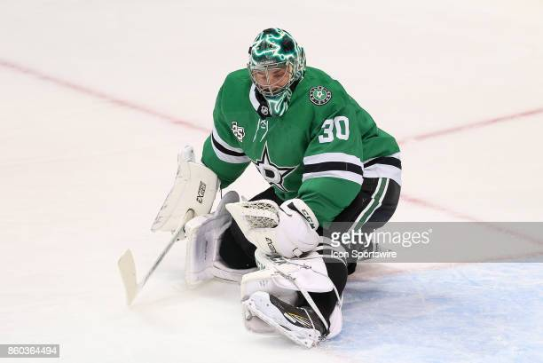 Dallas Stars Goalie Ben Bishop makes a save during the NHL game between the Detroit Red Wings and Dallas Stars on October 10, 2017 at the American...