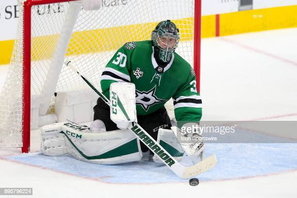 Dallas Stars goalie Ben Bishop plays the puck with his stick during the hockey game between the Washington Capitals and Dallas Stars on December 19...