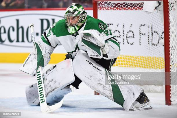 Dallas Stars goalie Ben Bishop tracks the play during the Dallas Stars versus the Montreal Canadiens game on October 30 at Bell Centre in Montreal QC