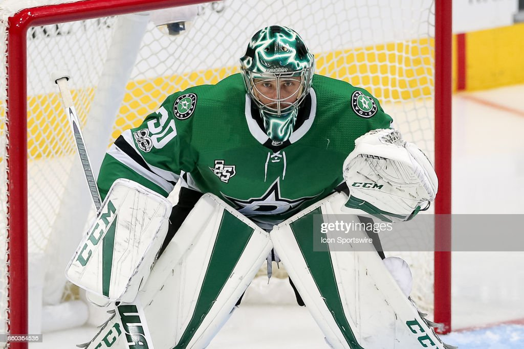 Dallas Stars Goalie Ben Bishop (30) waits for a face-off during the NHL game between the Detroit Red Wings and Dallas Stars on October 10, 2017 at the American Airlines Center in Dallas, TX.