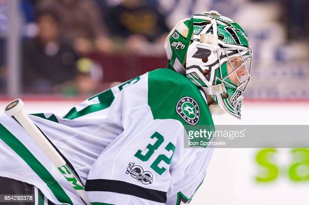 Dallas Stars Goalie Kari Lehtonen looks up ice during their NHL game against the Vancouver Canucks at Rogers Arena on March 16 2017 in Vancouver...