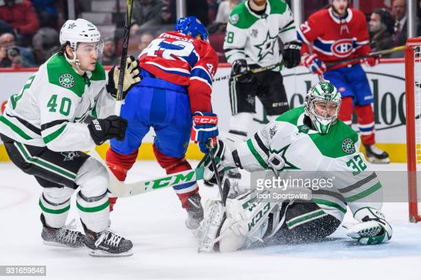 Dallas Stars goaltender Kari Lehtonen stops the puck after Montreal Canadiens center Byron Froese shoots on net during the third period of the NHL...