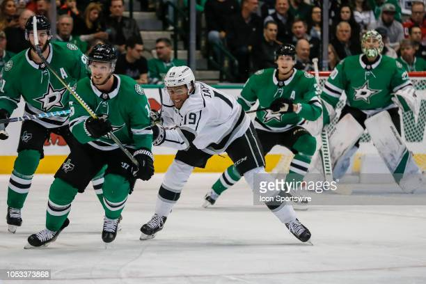 Dallas Stars left wing Blake Comeau and Los Angeles Kings left wing Alex Iafallo chase after the puck during the game between the Dallas Stars and...