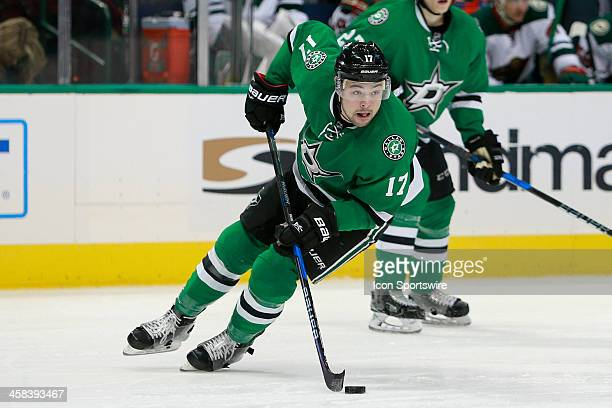 Dallas Stars Left Wing Devin Shore handles the puck during the NHL game between the Minnesota Wild and Dallas Stars on November 21 at the American...