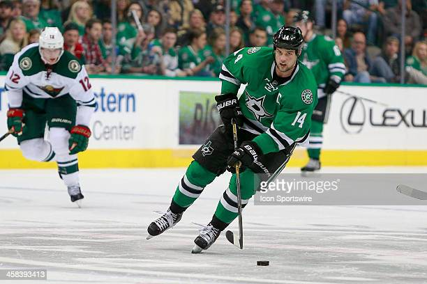 Dallas Stars Left Wing Jamie Benn brings the puck up the ice during the NHL game between the Minnesota Wild and Dallas Stars on November 21 at the...