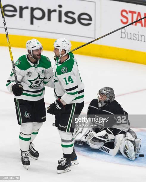 Dallas Stars left wing Jamie Benn celebrates his first period goal with Dallas Stars right wing Alexander Radulov during an NHL regular season game...