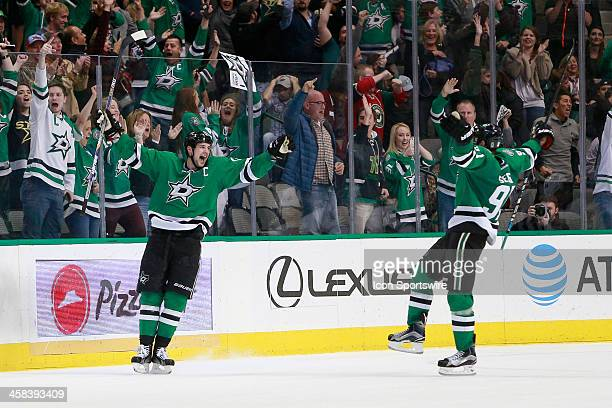 Dallas Stars Left Wing Jamie Benn celebrates his game winning during overtime of the NHL game between the Minnesota Wild and Dallas Stars on November...