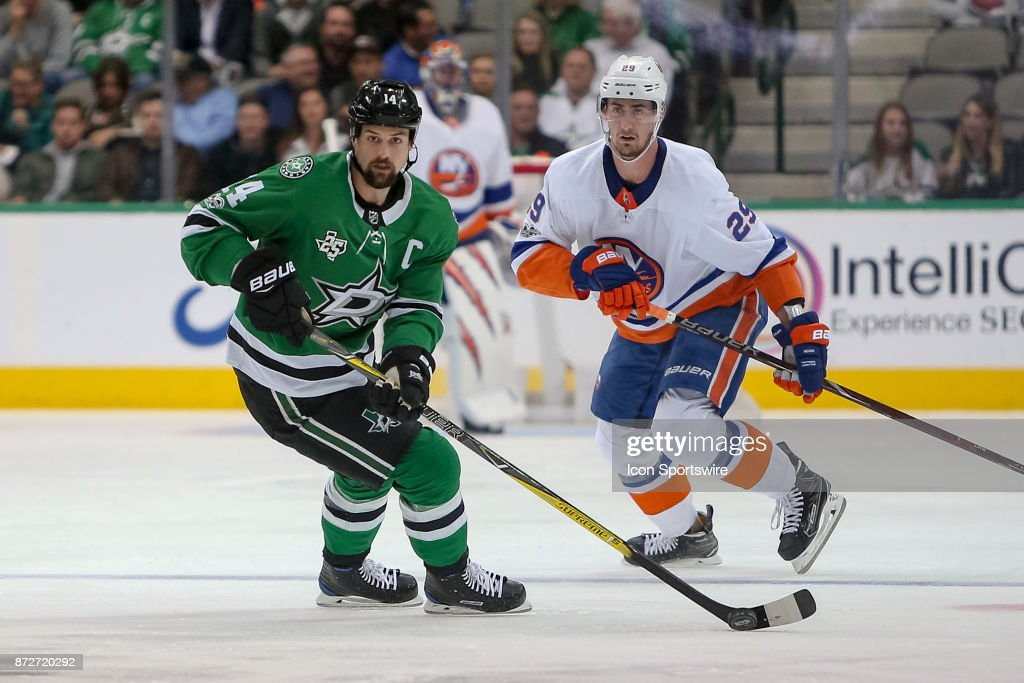 Dallas Stars Left Wing Jamie Benn (14) during the NHL hockey game between the New York Islanders and Dallas Stars on November 10, 2017 at American Airlines Center in Dallas, TX.