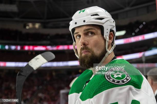 Dallas Stars Left Wing Jamie Benn eyes up the opposing bench during an NHL game between the Carolina Hurricanes and the Dallas Stars on February 25...