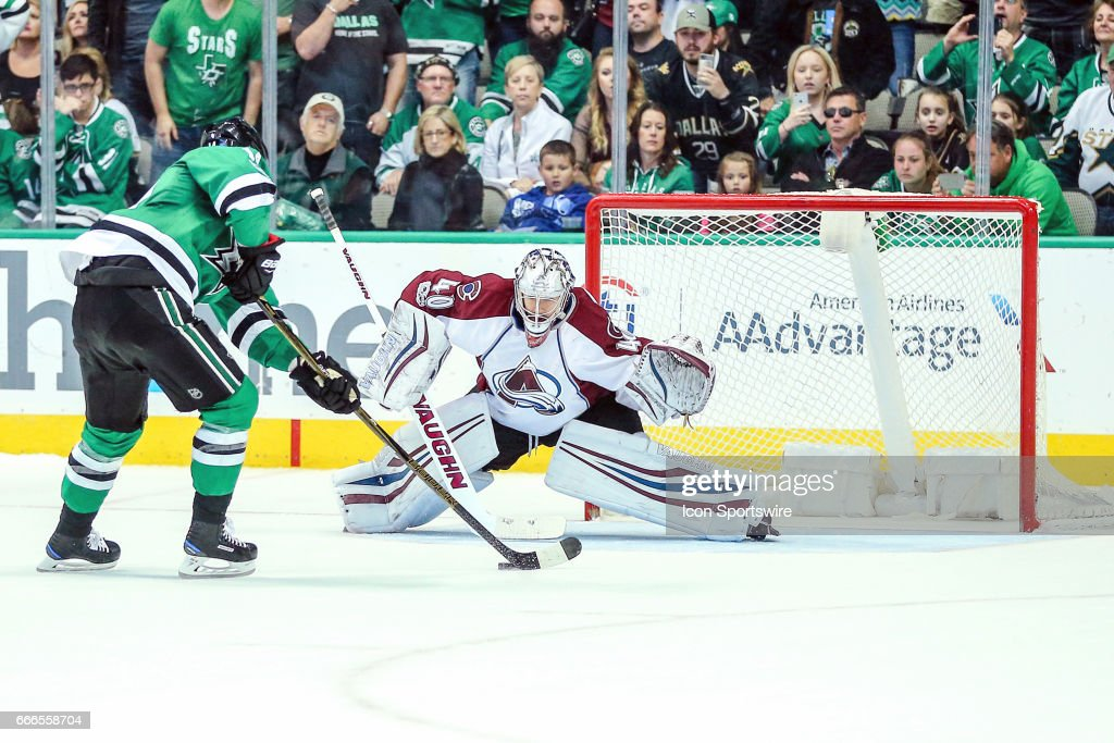 Dallas Stars left wing Jamie Benn (14) tries to score a goal past Colorado Avalanche goalie Jeremy Smith (40) in the shootout during the game between the Dallas Stars and the Colorado Avalanche on April 08, 2017 at the American Airlines Center in Dallas, Texas. Dallas defeats Colorado 4-3 in a shootout.