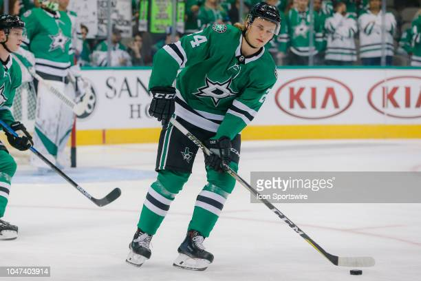 Dallas Stars left wing Roope Hintz skates during warmups before the game between the Dallas Stars and the Arizona Coyotes on October 4 2018 at the...