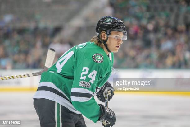 Dallas Stars left wing Roope Hintz skates to the puck during the NHL game between the Colorado Avalanche and the Dallas Stars on September 25 2017 at...