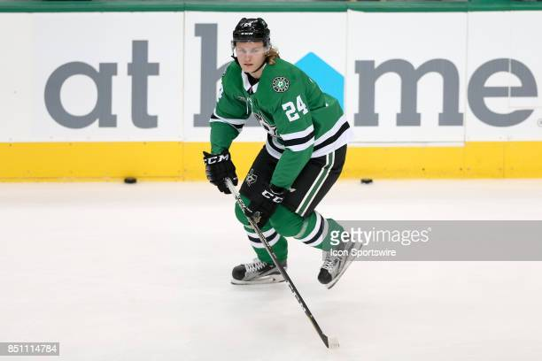 Dallas Stars left wing Roope Hintz warms up prior to the NHL preseason game between the St Louis Blues and Dallas Stars on September 19 2017 at...