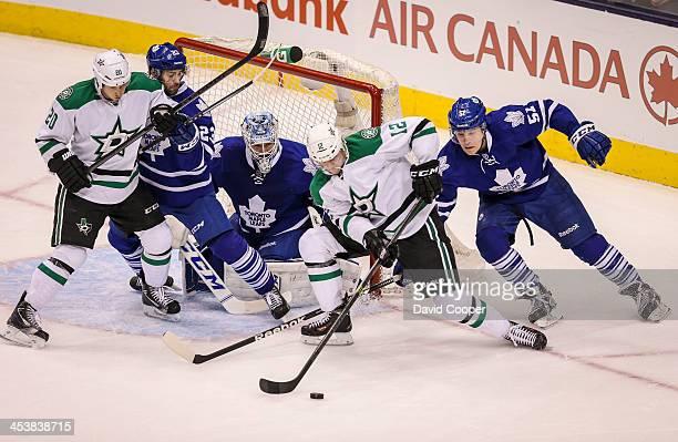 TORONTO ON DECEMBER 5 Dallas Stars right wing Alex Chiasson tries to get a shot on Toronto Maple Leafs goalie Jonathan Bernier as Toronto defenseman...