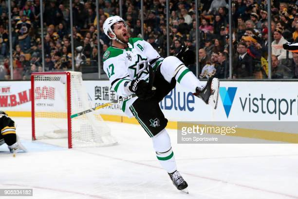 Dallas Stars right wing Alexander Radulov celebrates gis goal during a game between the Boston Bruins and the Dallas Stars on January 15 at TD Garden...