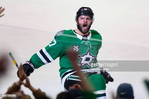Dallas Stars right wing Alexander Radulov celebrates his go ahead goal late in the 3rd period of the hockey game between the Washington Capitals and...