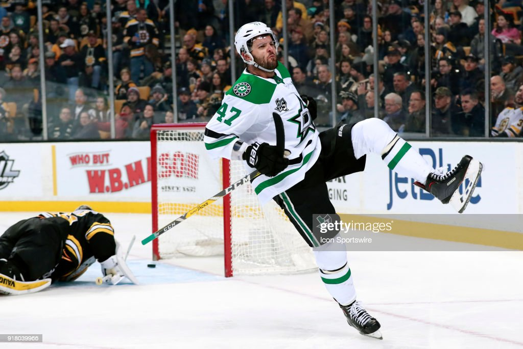 Dallas Stars right wing Alexander Radulov (47) celebrates his goal during a game between the Boston Bruins and the Dallas Stars on January 15, 2018, at TD Garden in Boston, Massachusetts. The Stars defeated the Bruins 3-2 (OT).