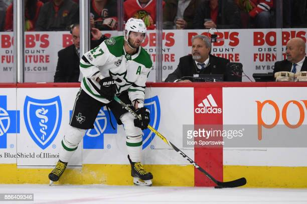Dallas Stars right wing Alexander Radulov controls the puck during a game between the Chicago Blackhawks and the Dallas Stars on November 30 at the...