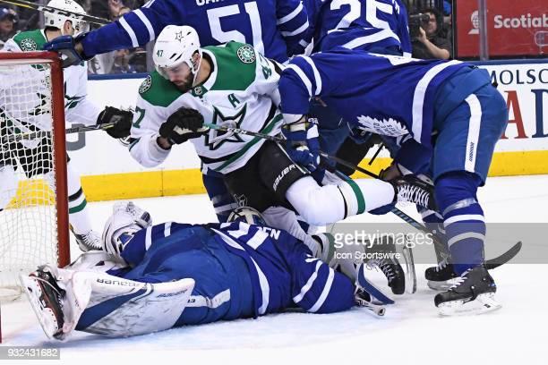 Dallas Stars Right Wing Alexander Radulov falls on Toronto Maple Leafs Goalie Frederik Andersen in the crease during the regular season NHL game...