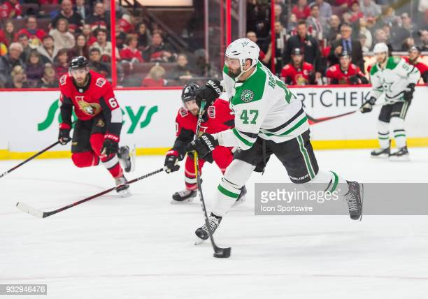 Dallas Stars Right Wing Alexander Radulov prepares to shoot the puck at goal during the third period of the NHL game between the Ottawa Senators and...
