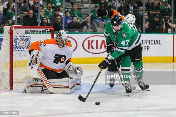 Dallas Stars right wing Alexander Radulov tries to shoot the puck against Philadelphia Flyers goalie Petr Mrazek during the game between the Dallas...