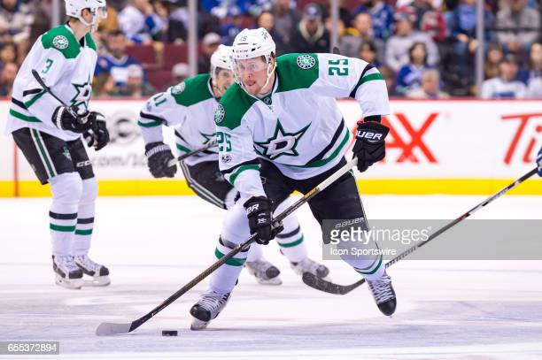 Dallas Stars Right Wing Brett Ritchie skates with the puck during their NHL game against the Vancouver Canucks at Rogers Arena on March 16, 2017 in...