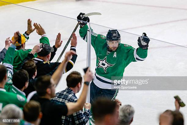 Dallas Stars Right Wing Patrick Sharp celebrates his 1st period goal during the NHL game between the Buffalo Sabres and Dallas Stars on January 26 at...