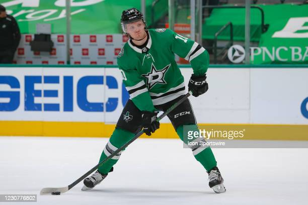 Dallas Stars Right Wing Ty Dellandrea sets up for a shot during the game between the Nashville Predators and Dallas Stars on January 24, 2021 at...